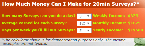 paid surveys at home survey calculator