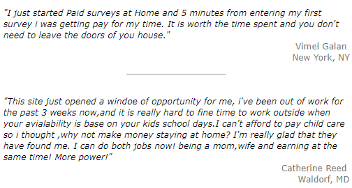 paid surveys at home testimonial examples