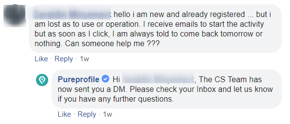 pureprofile support answer on facebook