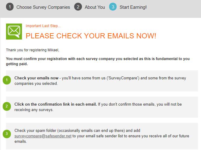 surveycompare confirmation