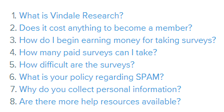 vindale faq section