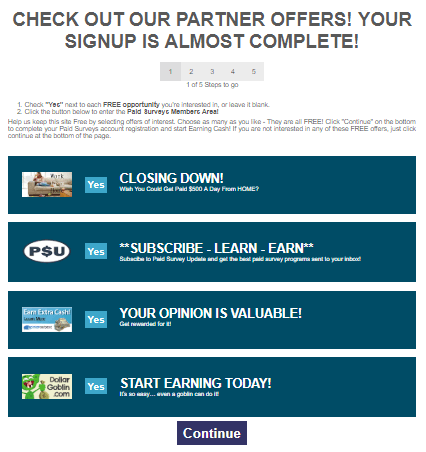 paidsurveys.com sign up offers example