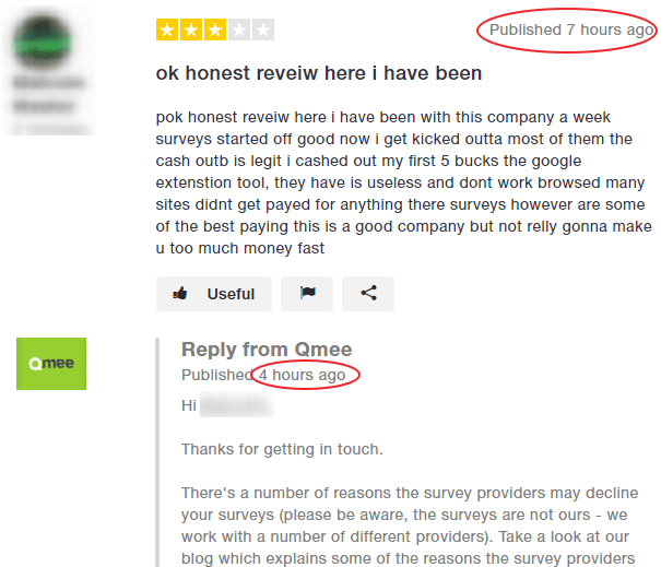 example of qmee complaint on trustpilot