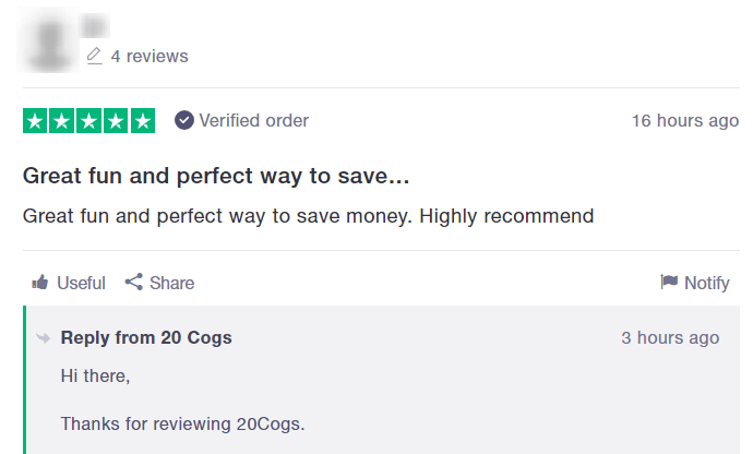 20cogs review on trustpilot