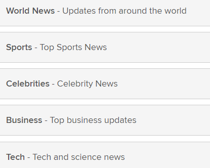 news categories on wowapp