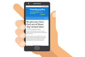 mobile with keep rewarding website