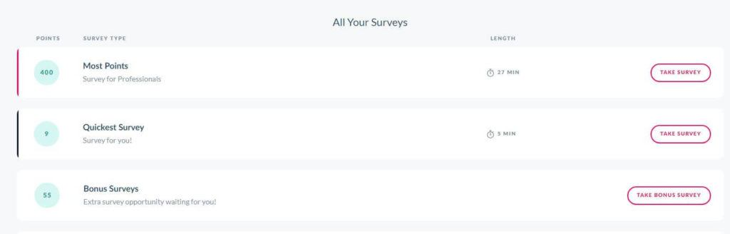 Branded Surveys dashboard