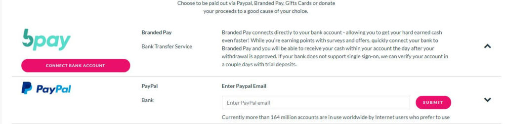 Branded Surveys Payout Options