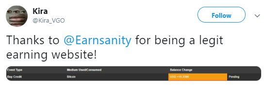 earnsanity twitter payment proof