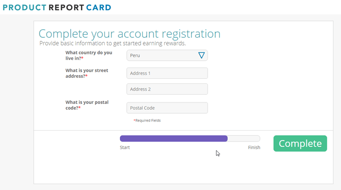Registration for ProductReportCard