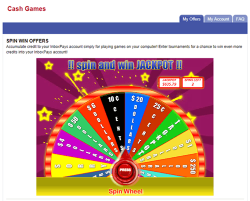 inboxpays spin the wheel contest