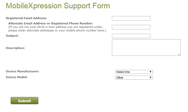 mobilexpression contact form