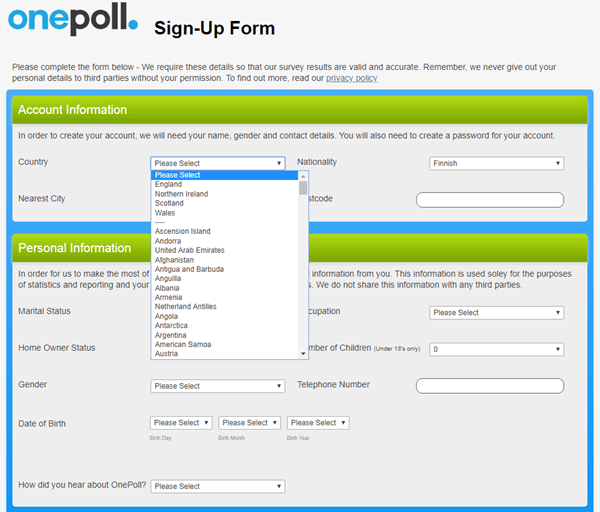 onepoll sign up form