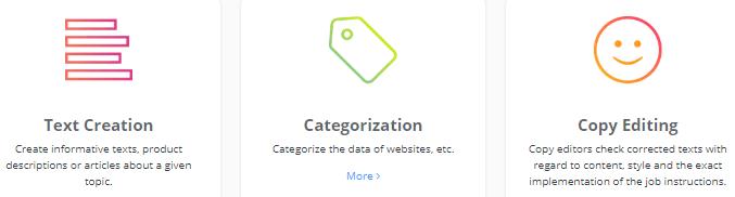 clickworker job categories examples
