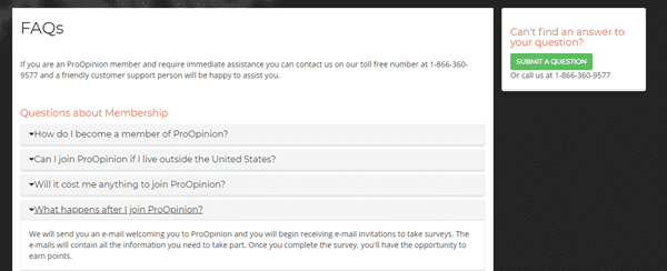 proopinion contact page