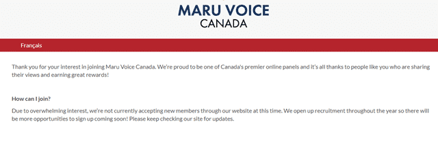 maru voice canada registration