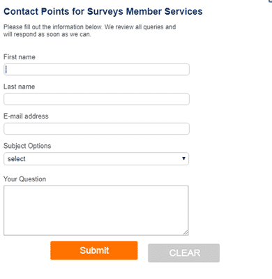 points for surveys contact form