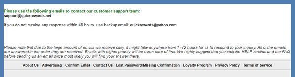 QuickRewards contact page