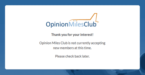 opinion miles club registration