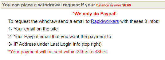 rapidworkers payout option