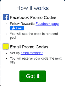 rewardia promo codes