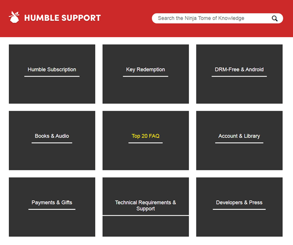 humble bundle support