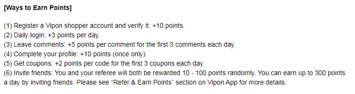 vipon collecting points