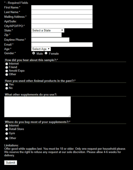 shopgala sample form
