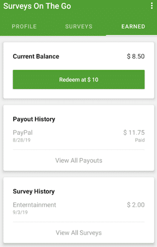 surveys on the go payment