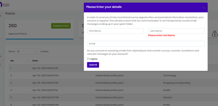 opinio quest payment consent