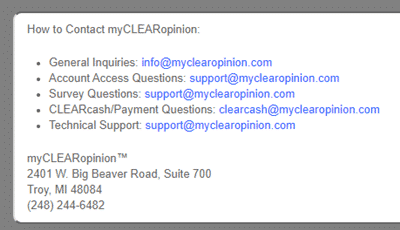 Myclearopinion Contact Details