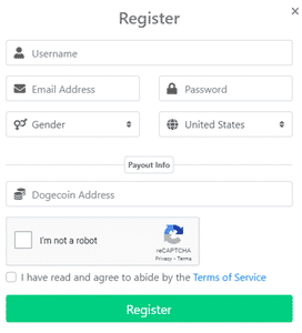 Getdoge Sign Up Form