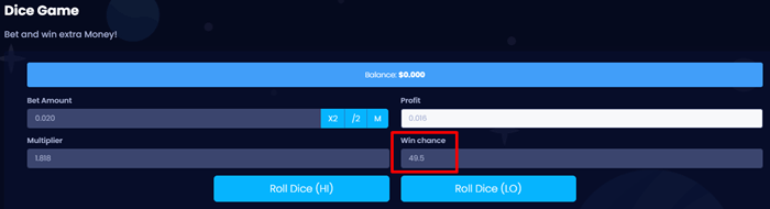 Lootcoins Dice Game