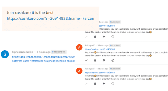 Spam Comments Trying To Get Referrals