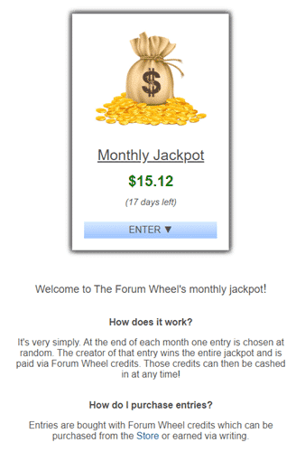Monthly Prize Draw Of The Forum Wheel