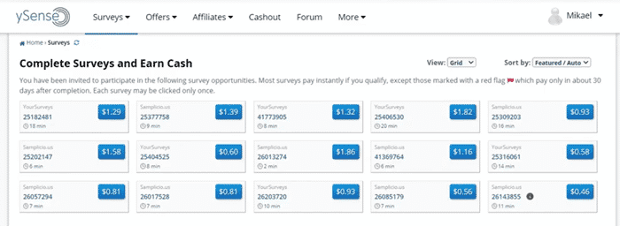 usual amount you can earn from survey sites