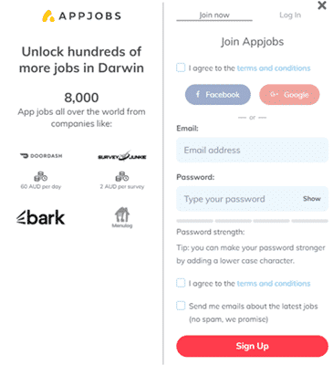 sign up form of appjobs